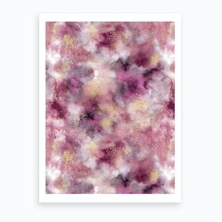 Smoky Marble Watercolor Pink Art Print