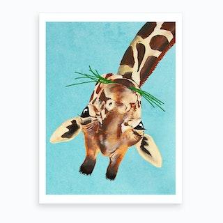 Upside Down Giraffe Art Print