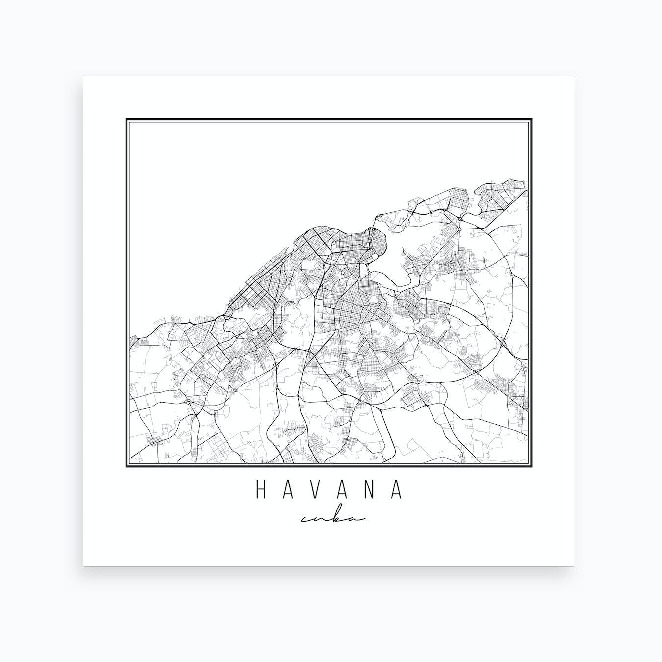 photograph relating to Printable Map of Havana referred to as Havana Cuba Road Map Artwork Print