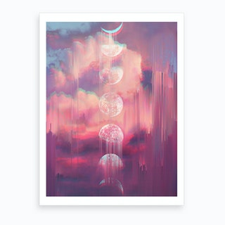 Moontime Glitches Art Print