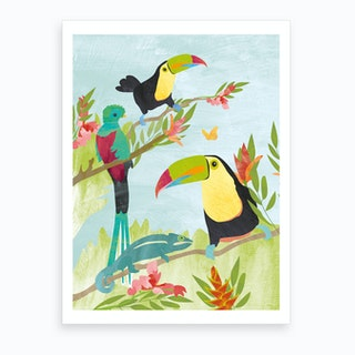Tucans And Quetzal In Jungle Art Print