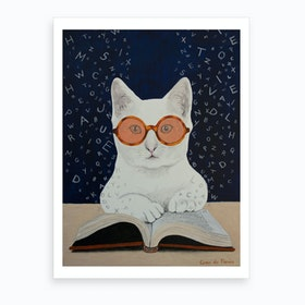 Cat Reading A Book Art Print
