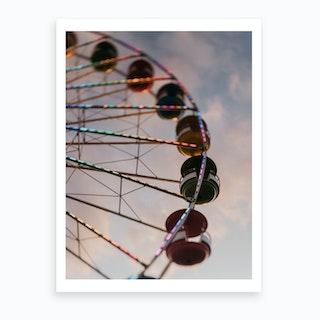 The Ferris Wheel At Sunset Art Print