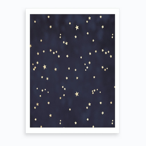 Royal Blue with Gold Stars Art Print