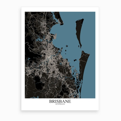 Brisbane Black Blue Map Art Print