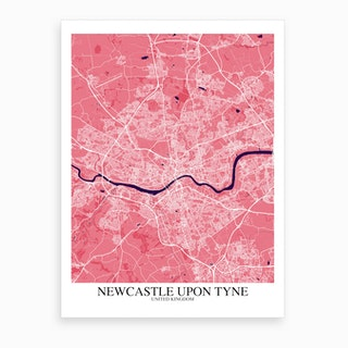 Newcastle Upon Tyne Pink Purple Map Art Print