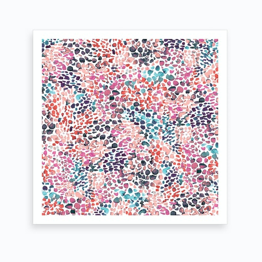 Speckled Watercolor Pink Square Art Print