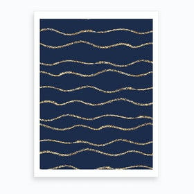 Royal Blue With Gold Wave Lines Art Print