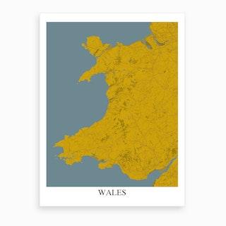 Wales Yellow Blue Map Art Print