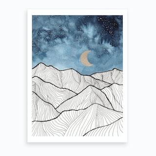 Indigo And Gold Landscape 11 Art Print