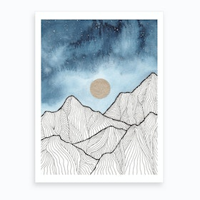 Indigo And Gold Landscape 12 Art Print