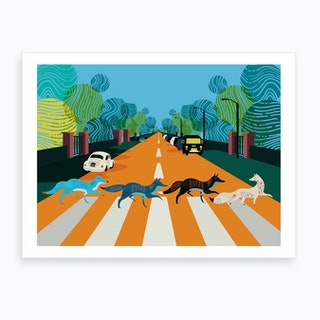 Abbey Road Foxes London Art Print