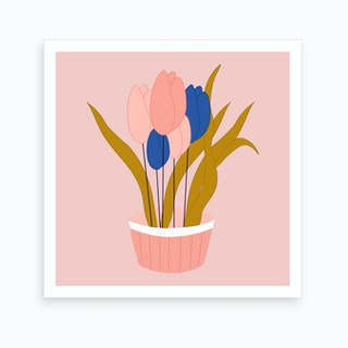 Pink And Blue Tulips In A Pot 2 Art Print