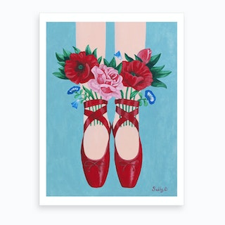 Red Shoes And Flowers Art Print