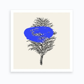 Tropical Leaf Blue Art Print