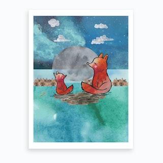 Watercolour Orange Foxes At Night Art Print