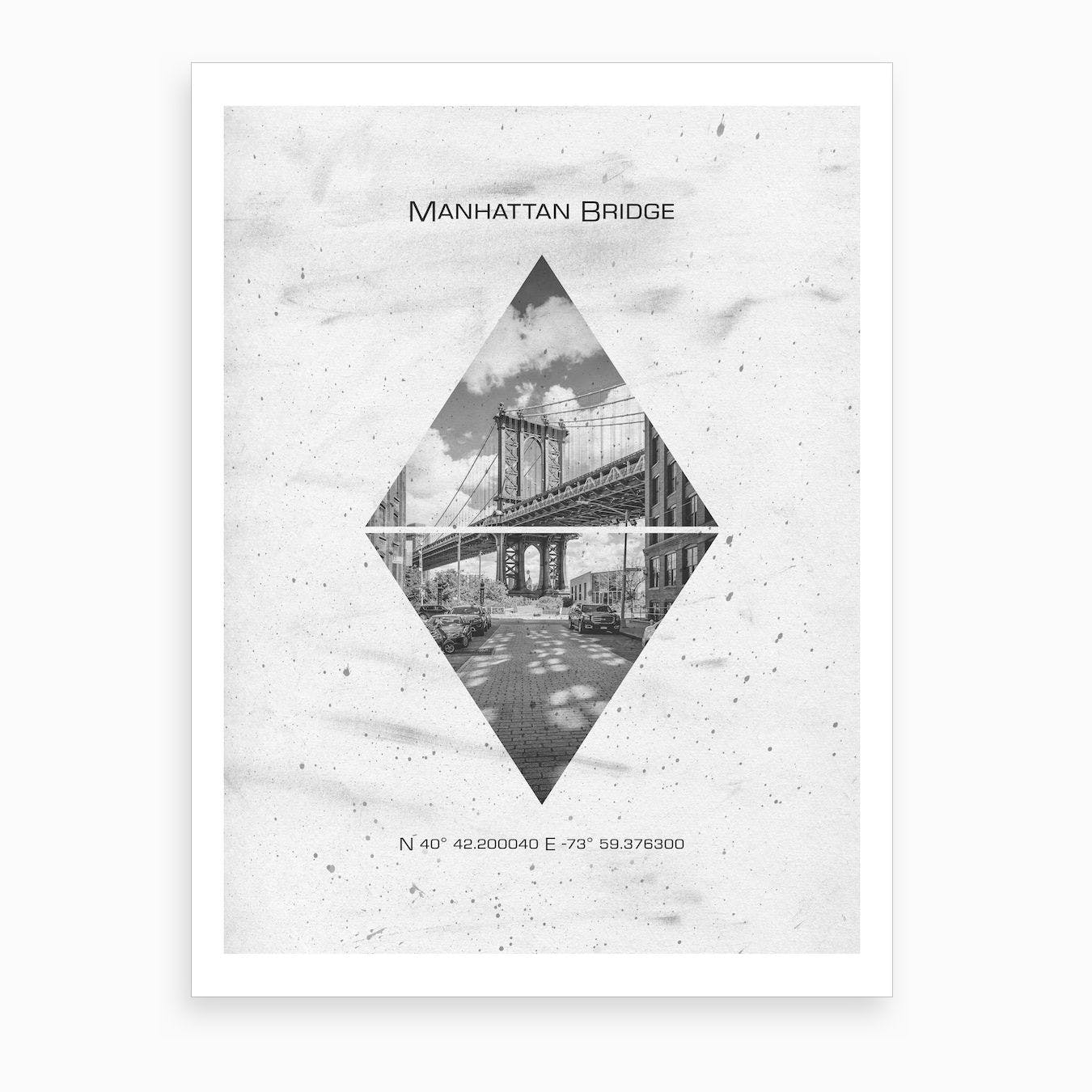 New York City Manhattan Bridge Coordinates Art Print