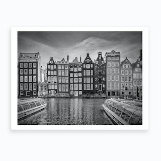 Amsterdam Damrak and Dancing Houses Art Print