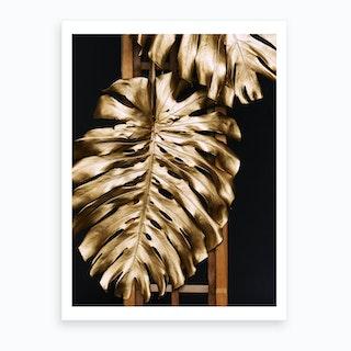 Gold Monstera Leaves Art Print