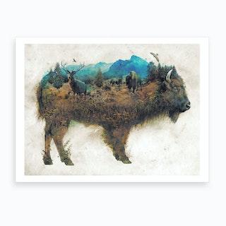 Surreal Bison Art Print