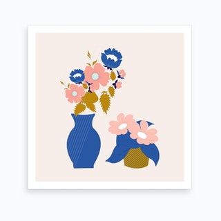 Pink Blue And Gold Vases With Flowers 2 Art Print