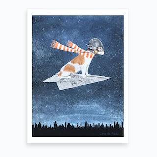 Jack Russell On Paper Plane Art Print