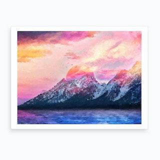 Modern Digital Artwork Vi Wyoming Mountains Art Print