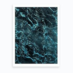 Black Turquoise Marble Art Print