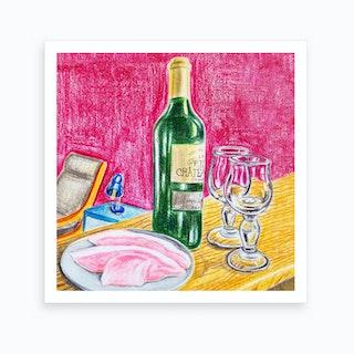 Ham And Wine Art Print