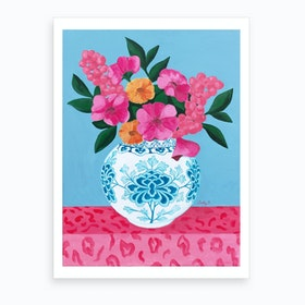 Chinoiserie Vase And Flowers Art Print