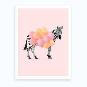 Zebra Balloons Art Print