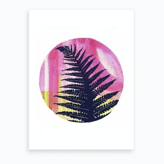 Fern On Pink And Lime Art Print