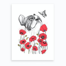 Pug With Poppies Art Print
