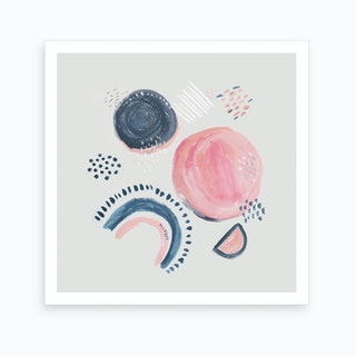 Abstract Mark Making Circles Square Art Print