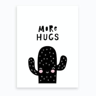 Scandi More Hugs Cactus Art Print