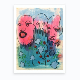 Three Heads And A Bunch Of Flowers Art Print