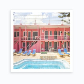 Pink Palace Pool Art Print