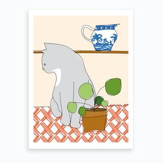 Cat On The Table I Art Print