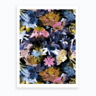 Watercolor Spring Floral Memories Black Art Print