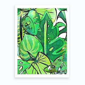 Bohemian Tropical Leaves Art Print