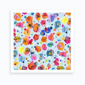 Bohemian Naive Flowers Blue Art Print