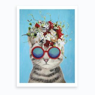 Flower Power Cat Art Print
