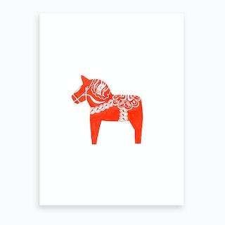 Scandinavian Dala Horse Art Print