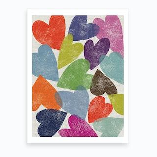 Printed Hearts Art Print