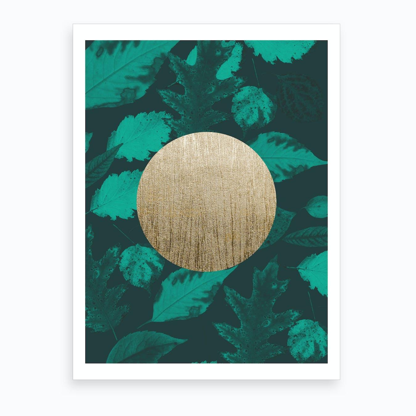 Gold Moon Green Art Print