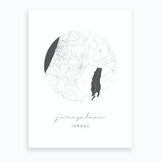 Jerusalem Israel Circle Map Art Print