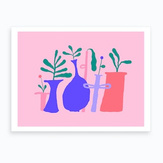 Pink Plant Composition 2 Art Print