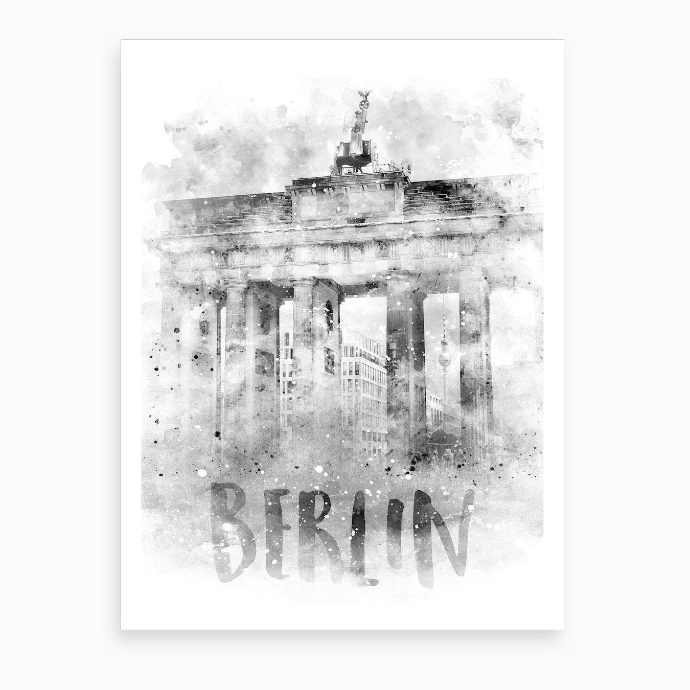 Watercolor Berlin Brandenburg Gate Art Print