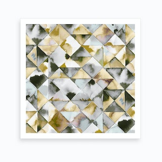 Moody Triangles Gold Silver Art Print