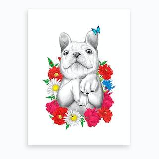Dog In Flowers Art Print